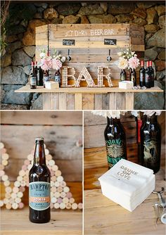 DIY rustic charm beer bar made completely from pallet wood @weddingchicks #meetthehamptons