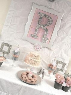 "Candy buffet ideas - Pink + Grey Damask Baby Shower / Baby Shower/Sip & See ""Pink + Gray Damask Baby Shower"" 