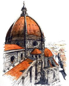 Akihito Horigome (@horiaki2) в Instagram: Cattedrale di Santa Maria del Fiore n #watercolor #watercolour #watercolorsketch #london #sketch #sketching #traveling #bridge#architecture #art #paint #painting #cathedral #illustration