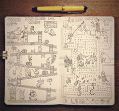 I felt like drawing some old school arcade classics with my Sailor 1911 EF fountain pen. #Moleskine #sketchbook #pacman #donkeykong