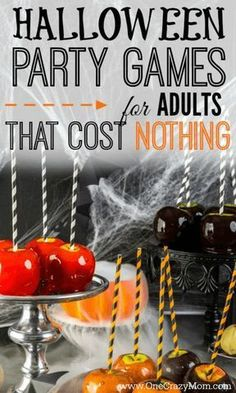 Here are some easy Halloween Party Games for Adults that will cost you nothing. Adults can have fun at Halloween too without breaking the bank.Try these easy Halloween party ideas for adults. Halloween Designs, Halloween Tags, Halloween Party Kostüm, Halloween Decorations, Halloween Housewarming Party, Halloween Office, Trendy Halloween, Halloween Tricks, Halloween Celebration