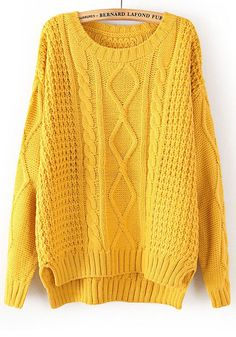 Yellow Plain Long Sleeve Straight Wool Blend Sweater