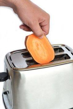 Süßkartoffel-Scheiben ganz normal im Toaster toasten