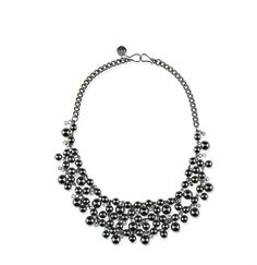 "-POLARIS- ""A rich cascade of gunmetal beads with delicate rhinestones spread throughout bring the night sky to you on this exquisite piece that can be worn as a short necklace or layered with another piece as a longer necklace."" http://LMAWBY.mialisia.com"