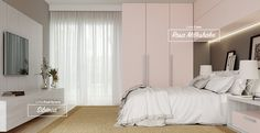 Dormitório com os padrões de MDF Sibéria e Rosa Milkshake.  #MDF #decoraçãoMDF #decoração #DesignInteriores #padrõesMDF #homedecor #decoração #quarto #peçasMDF #guardaroupamdf