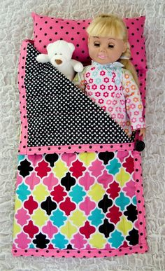 """18"""" American Girl doll sleeping bag with a link for tutorial. This is a fun sewing project for a cute AG doll accessory."""