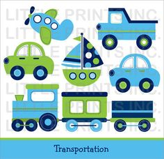 Transportation Car Sailboat Truck Airplane by LittlePrintsParties, $5.00