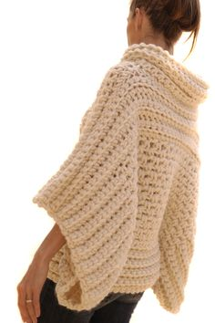 This listing is for the INSTRUCTIONS to make this crochet sweater. This is not a listing for a finished garment. Using of a super chunky yarn like Magnum by Cascade or Big Wool by Rowan and a Q hook or larger depending on gauge this crochet sweater is a Poncho Au Crochet, Pull Crochet, Mode Crochet, Crochet Scarves, Crochet Clothes, Crochet Stitches, Knit Crochet, Crochet Patterns, Chunky Crochet