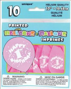 Printed Balloons 12-Inch, 10/Pkg, Happy 1st Birthday-Pink by Unique Industries. $3.39. Unique Industries. 55910. 011179559107. Brand New Item / Unopened Product. UNIQUE-First Birthday Balloons: Pink. The perfect way to dress up your little angels first birthday and make a celebration to be remembered! This collection of party supplies include a plastic table covering; 7in and 9in plates; luncheon and beverage napkins; cups; balloons; hats; invitations and more. This pa...