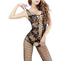 iecool Women's Sexy Nightwear Open Crotch Fishnet Bodysuit & Body Stocking