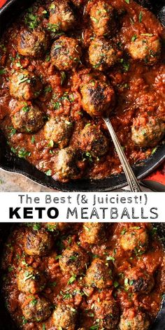 (the best!) gluten free & keto meatballs - (the best!) gluten free & keto meatballs The Best Gluten Free & Keto Meatballs (with marinara sauce! Yummy Recipes, Beef Recipes, Low Carb Recipes, Cooking Recipes, Healthy Recipes, Dessert Recipes, Breakfast Recipes, Keto Recipes Dinner Easy, Italian Recipes