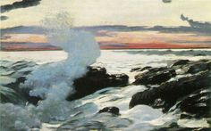 West Point, Prout's Neck: 1900 by Winslow Homer - Oil on canvas, 30 x 48 in. (The Clark Art Institute, Williamstown, MA) Winslow Homer Paintings, Seattle Art Museum, Sea Pictures, Clark Art, Illustrations, American Artists, American Realism, Oeuvre D'art, Art Reproductions