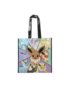 5bd59854de80 Large reusable tote from Pokemon with a metallic silver detailed Eevee  Evolutions design. Sides feature