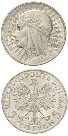 N♡T.Poland 1933 5 Zloty Queen Jadwiga Silver Coin.