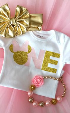 Minnie Mouse First Birthday Pink & Gold Glitter by RufflesBowtique