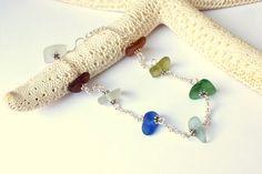 Sea Glass Beach Glass Bracelet Multi Colored by beachglassshop, $30.00