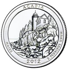 Reverse of 2012 America the Beautiful United States quarter dollar #coin, depicting Acadia National Park. Available now at Lear with IRA Eligibility. Call (800) 783-1407 for more info or visit http://www.learcapital.com/encyclopedia/269/moredetail.html