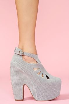 Cuffed Cutout Platform in Perforated Gray