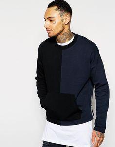ASOS Oversized Cropped Cut & Sew Sweatshirt With Zips