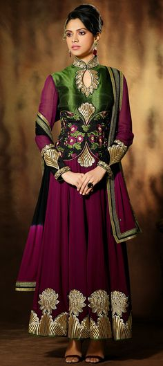 424092: This color is so BERRYlicious. Wear it and let others want to eat you up! haha.  #anarkali #Partywear #Bridalwear