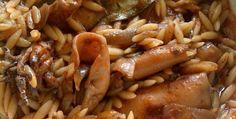 Καλαμάρι με Κριθαράκι Greek Recipes, Fish And Seafood, Nutella, Hot Dogs, Sausage, Cooking Recipes, Beef, Ethnic Recipes, Gastronomia