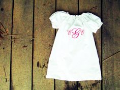 Monogrammed white peasant dress coming home by plainjanesstore, $19.50