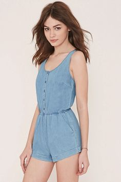 Cuffed Denim Romper #thelatest