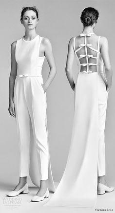 viktor and rolf spring 2018 bridal sleeveles jewel neck jumpsuit wedding dress (22) mv bv bow open back pocket train clean modern -- #wedding #bridal #weddingdress