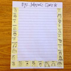 Class stationary! Give each kid a post-it to draw their portrait and then make copies.