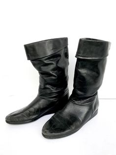 buy popular ce868 bba37 Womens Easy Spirit Black Leather Flat Pull On Casual Boots Size 7