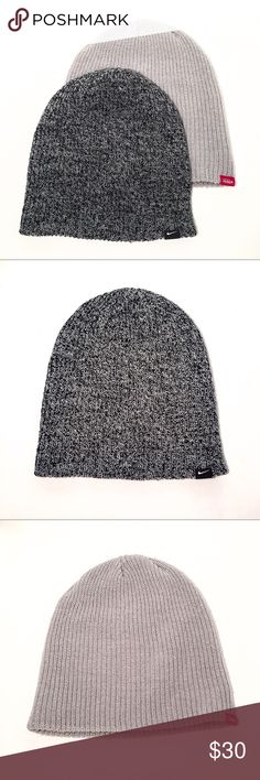 42ad2de5 Two ear-and-head-warming-winter-activewear-snow-bunny hats! One in an  understated gray color and the other in a black & white knit that looks  like grey from ...