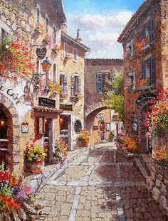 Sam Park EZE VILLAGE Hand Signed L/E Giclee on Canvas
