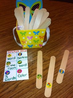 Fun idea for therapy!! Sticker sticks! From saywhatyall!!