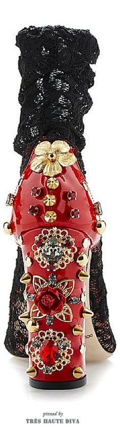 Dolce & Gabbana Embellished Stretch Lace Low Boot ♔ SS 2015 ♔ Tres Haute Diva