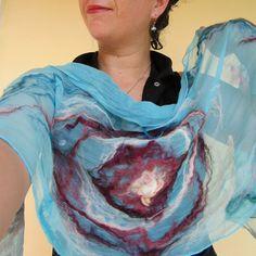 nuno felted scarf waves by QaraQul on Etsy, $155.00