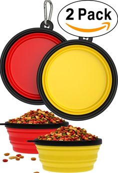 2 Pack Collapsible Travel Dog and Cat Bowl [FREE Carabiner] BPA Free - Pet Bowl for Large Small Dogs Cats and Puppy - Best Foldable Expandable Cup Dish Feeding Feeder Food Water Camping [Yellow and Red] *** Check out this great image  : Christmas Presents for Cats