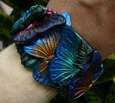 Adi's butterflies polymer clay cuff bracelet by adrianaallenllc, $35.00