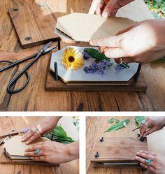 technique de pressage des fleurs avec une presse fleurs diy vintage pour réaliser un herbier