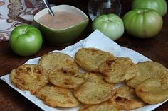 Recipe for dipping sauce for fried green tomatoes - doesn't require a food processor and you probably have everything needed in your fridge already :) It's amazing and seems to be great on just about anything!