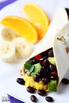 Black Bean and Avocado Breakfast Burritos | gimmesomeoven.com