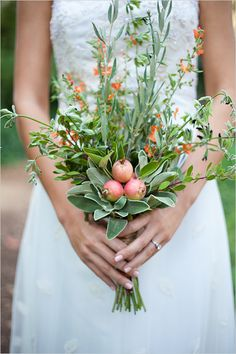 Use  herbs in your bouquet to shew flies and other insects!    Although the weather is lovely in the summer, insects and flies always seem to be around. One of our least favorite has to be mosquitoes, you can easily place citronella, basil, or tansy in your wedding bouquet to ward off these pesky insects. Sage, fever-few, and white blossoms will deter flies. We think this is the best idea ever!