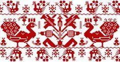 Párnavég model, originally szálánvarrott cross stitch and embroidery. Russian Embroidery, Embroidery Sampler, Bird Embroidery, Fair Isle Chart, Vintage Cross Stitches, Chart Design, Fair Isle Knitting, Blackwork, Needlepoint
