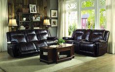 Homelegance 8414DBR-2 Wasola Collection Color • Dark Brown Leather Gel Match