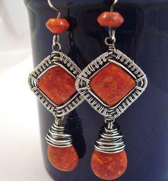 Weaversfield coral earrings set in woven Sterling and Fine silver frame.