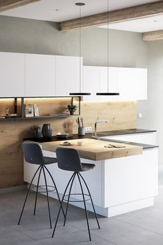Loft Design, Küchen Design, House Design, Bright Kitchens, Home Kitchens, Kitchen Interior, New Kitchen, House Staircase, Cosy House