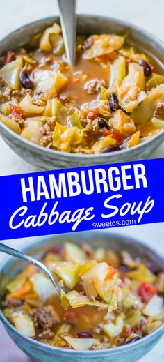 Picture of hamburger cabbage soup in a metal bowl with a spoon