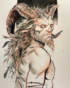 Mythological Creatures, Fantasy Creatures, Pan Mythology, Quelques Photos, Creature Concept Art, Fantasy Monster, Arte Horror, Fantasy Inspiration, Art Sketchbook