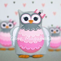 Felt Owl Pincushion Digital Pattern - PDF File - Owl Soft Toy - Owl Ornament - product images  of