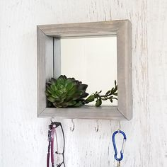 Key Holder For Wall Mirror With Hooks Succulent Decor