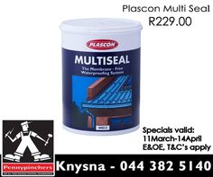 #Pennypinchers brings you great savings such as: Plascon Multi Seal pro for only R229.00* Dont miss out on our crazy specials, view all here: http://apin.link/334. Valid 11 March to 4 April 2015, E&OE. #Pennypinchers #Knysna #Specials #DIY